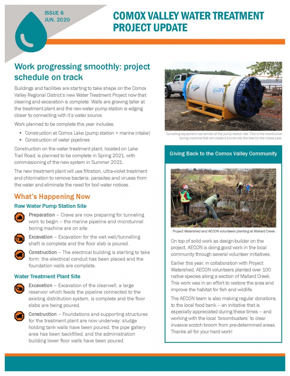 CV Water Treatment Project Update June 2020