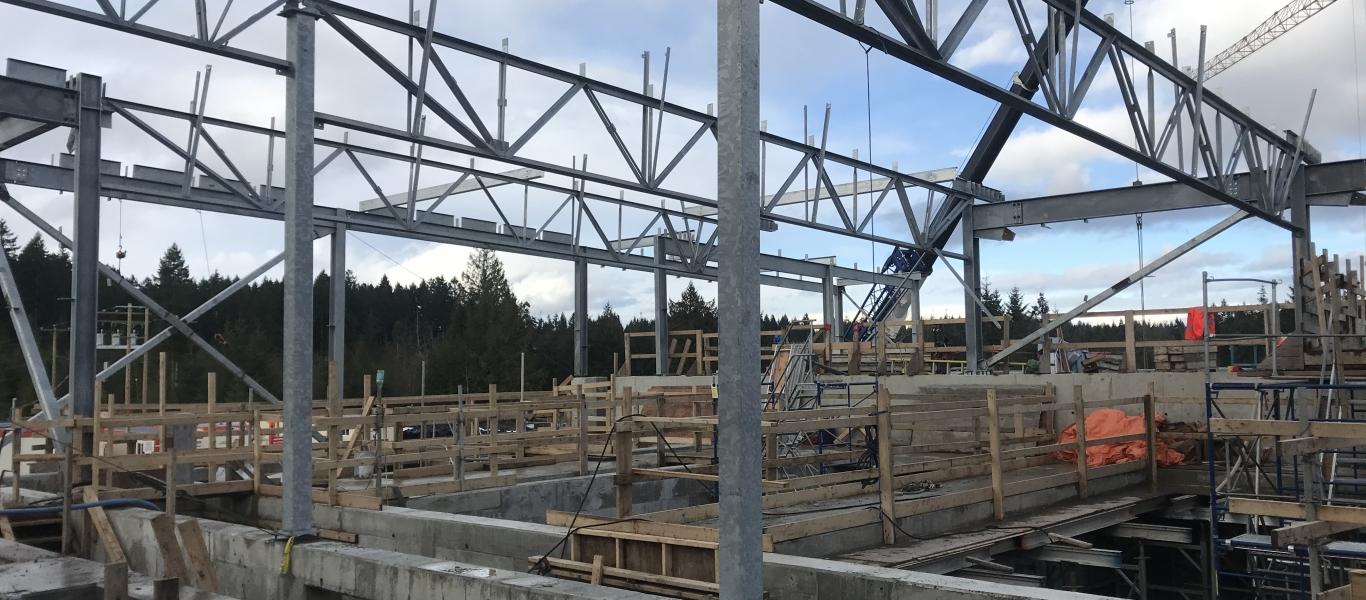 Roof joists are in place above the chambers that will filter and treat the water.